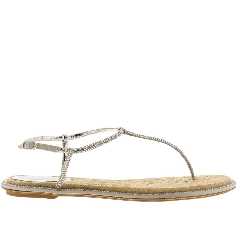 Sandalo René Caovilla flat a infradito con cristalli argento 1