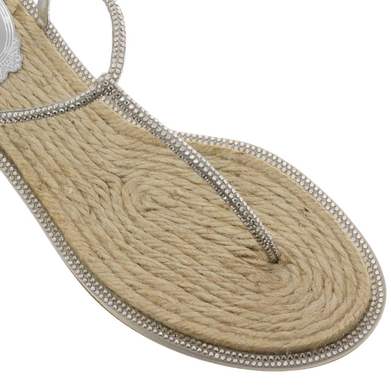 Sandalo René Caovilla flat a infradito con cristalli argento 3