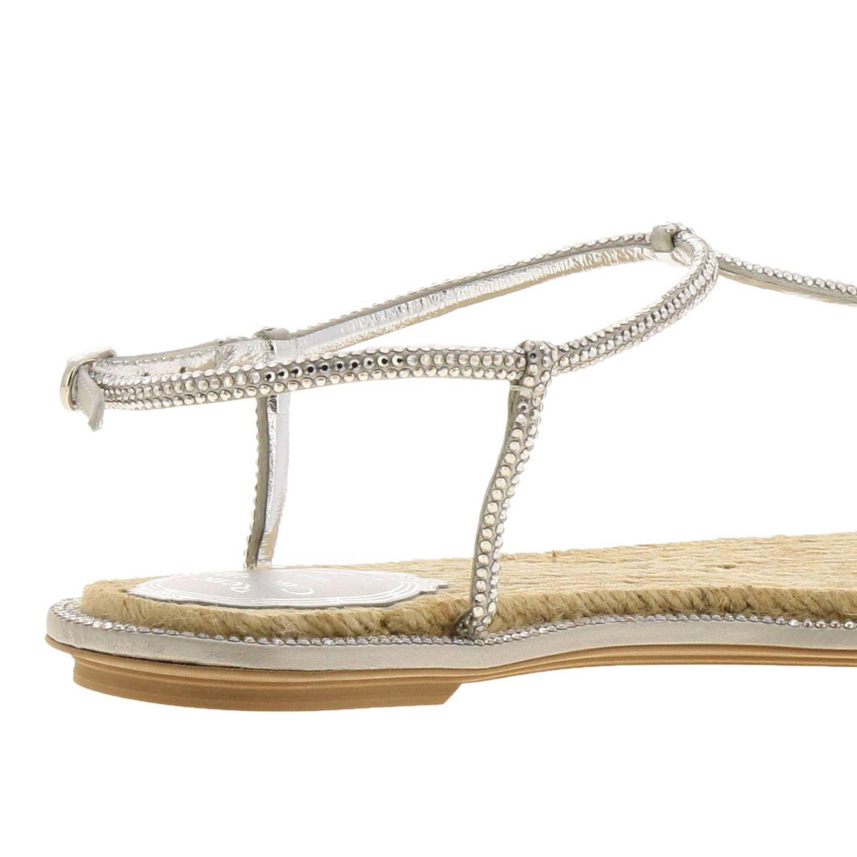 Sandalo René Caovilla flat a infradito con cristalli argento 4