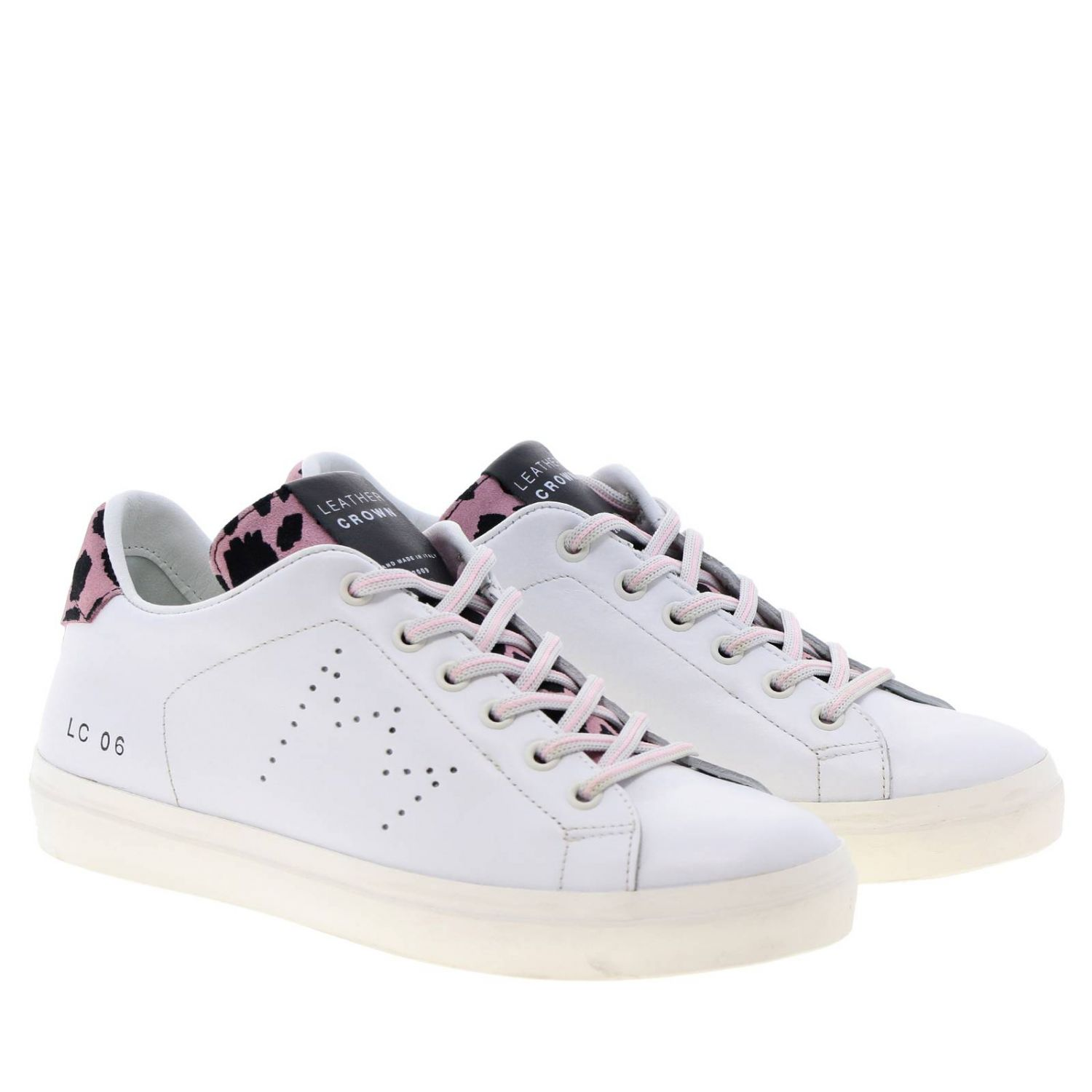 Shoes women Leather Crown pink 2