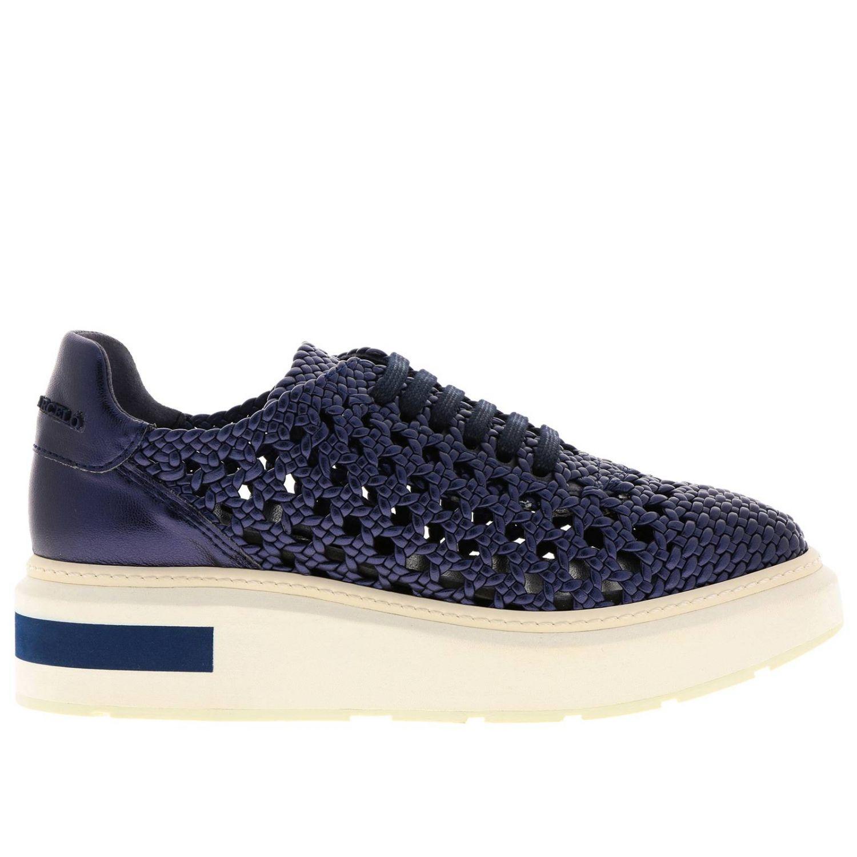 Sneakers Buli-re Manuel Barcelò platform in pelle laminata e intrecciata blue 1
