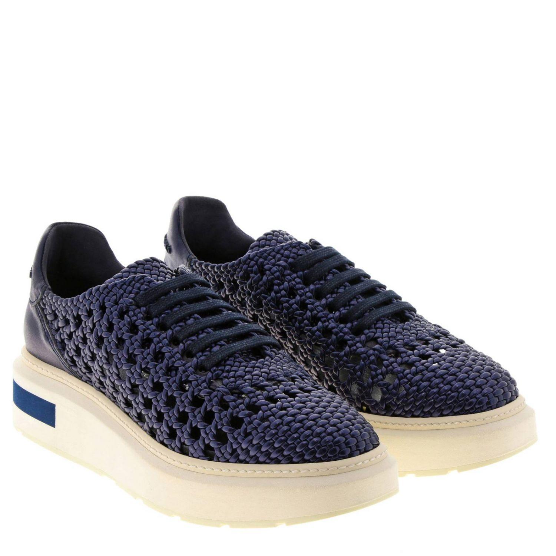 Sneakers Buli-re Manuel Barcelò platform in pelle laminata e intrecciata blue 2