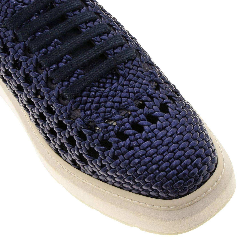 Sneakers Buli-re Manuel Barcelò platform in pelle laminata e intrecciata blue 3