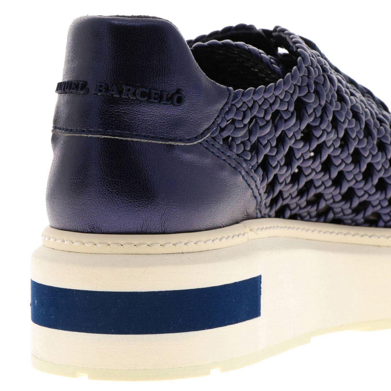 Sneakers Buli-re Manuel Barcelò platform in pelle laminata e intrecciata blue 4