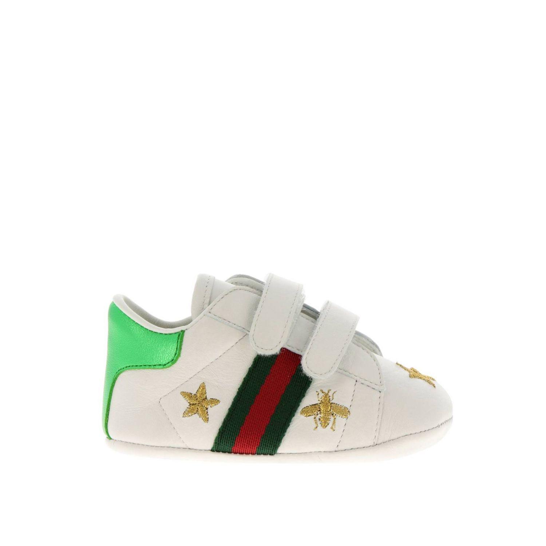 Sneakers New Ace  in pelle liscia con fasce Web Gucci e ricami lurex di Api e stelle bianco 1