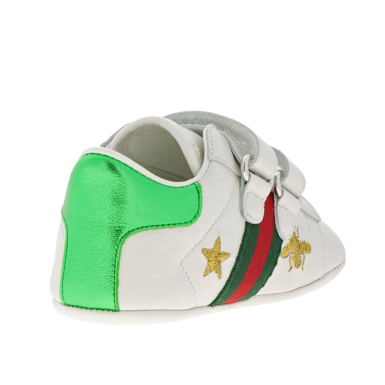 Sneakers New Ace  in pelle liscia con fasce Web Gucci e ricami lurex di Api e stelle bianco 4
