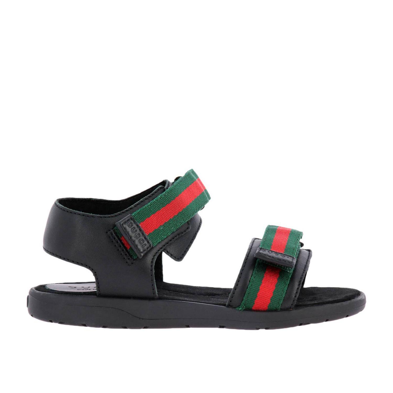 Sandalo flat con doppie fasce Web Gucci nero 1