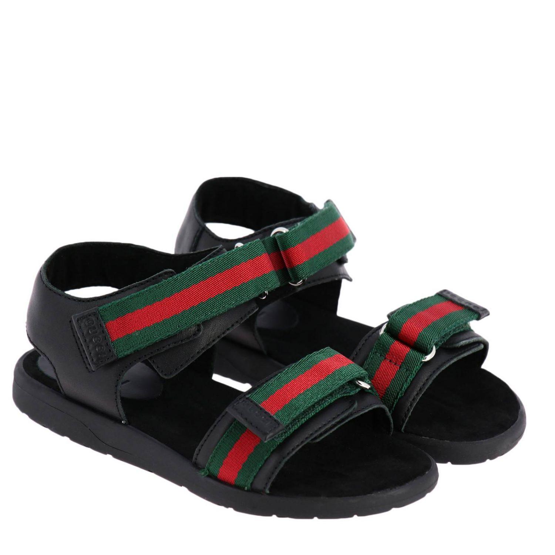 Sandalo flat con doppie fasce Web Gucci nero 2
