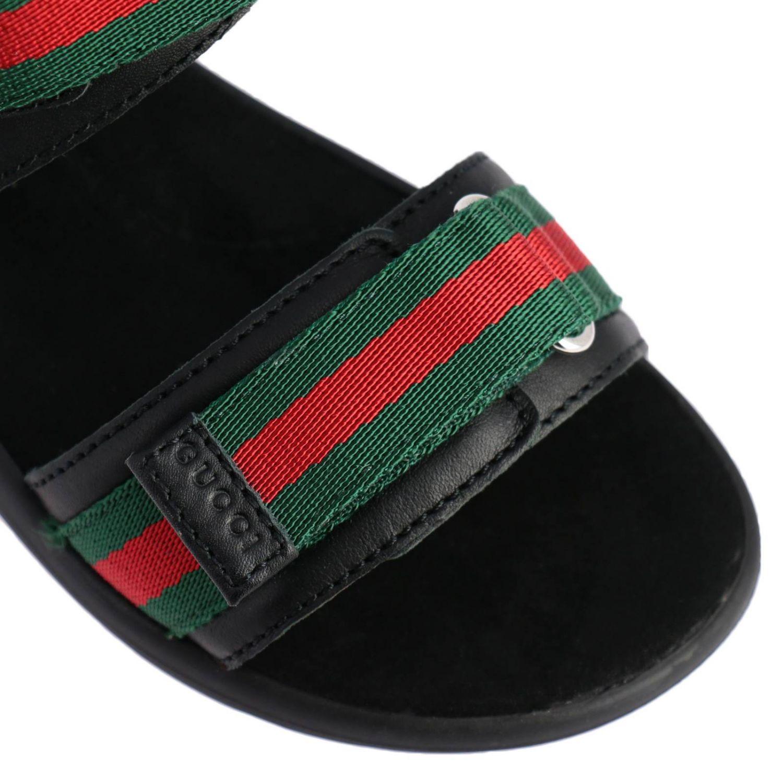 Sandalo flat con doppie fasce Web Gucci nero 3