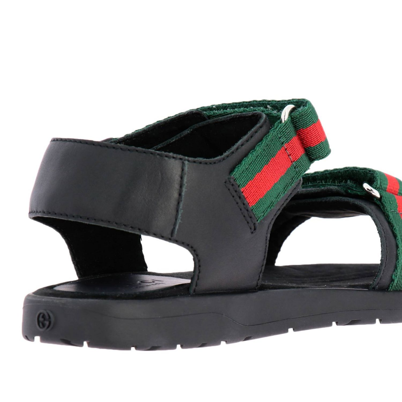 Sandalo flat con doppie fasce Web Gucci nero 4