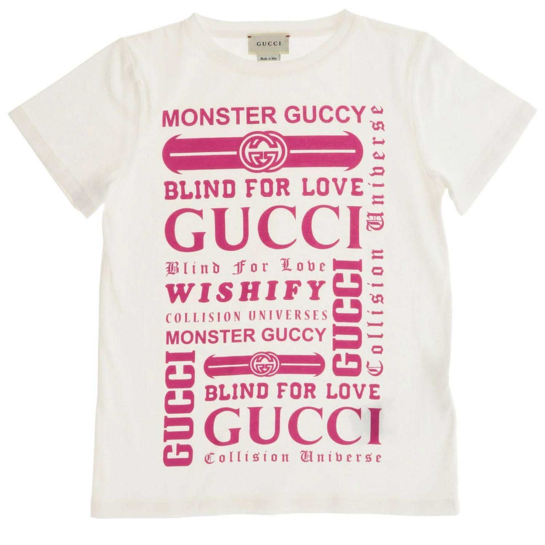T-shirt Gucci a maniche corte con maxi stampa logo rosa 1