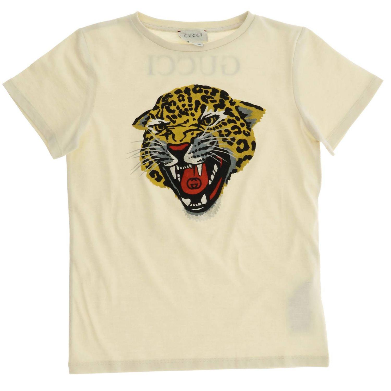 T-shirt Gucci a maniche corte con maxi stampa tigre gg bianco 1