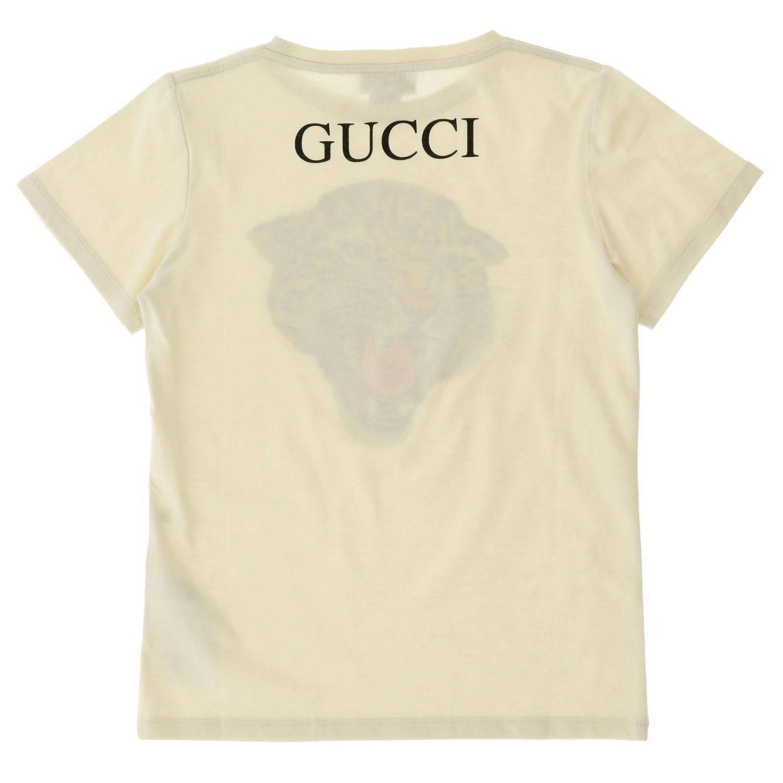 T-shirt Gucci a maniche corte con maxi stampa tigre gg bianco 2
