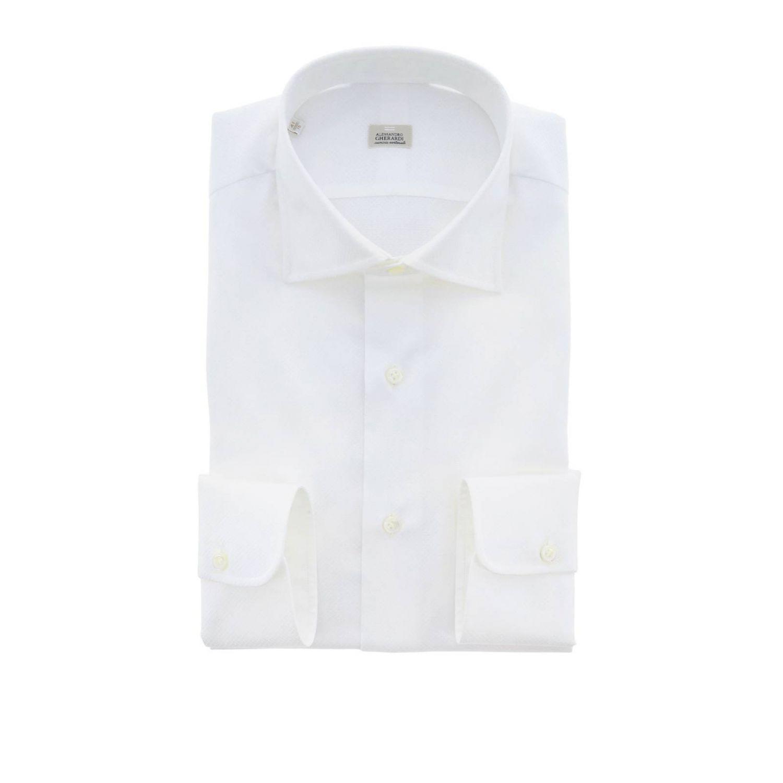 Camicia Alessandro Gherardi sartoriale regular fit con collo italiano bianco 1
