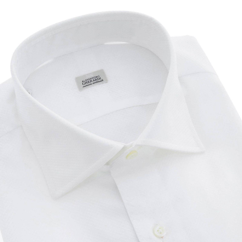 Camicia Alessandro Gherardi sartoriale regular fit con collo italiano bianco 2