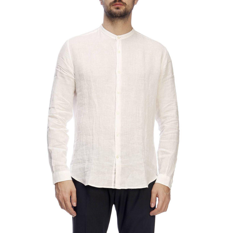 Camicia Brooksfield con collo alla coreana in lino bianco 1