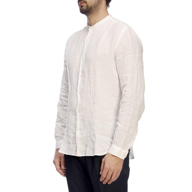 Camicia Brooksfield con collo alla coreana in lino bianco 2