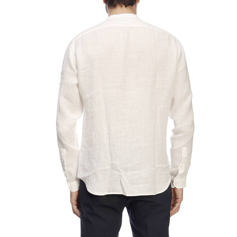 Camicia Brooksfield con collo alla coreana in lino bianco 3