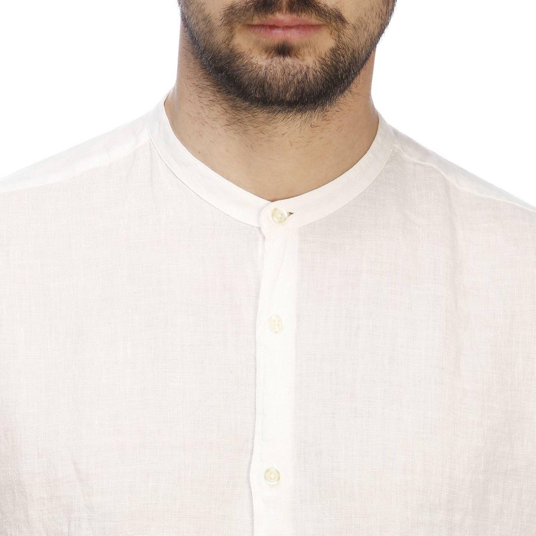 Camicia Brooksfield con collo alla coreana in lino bianco 4
