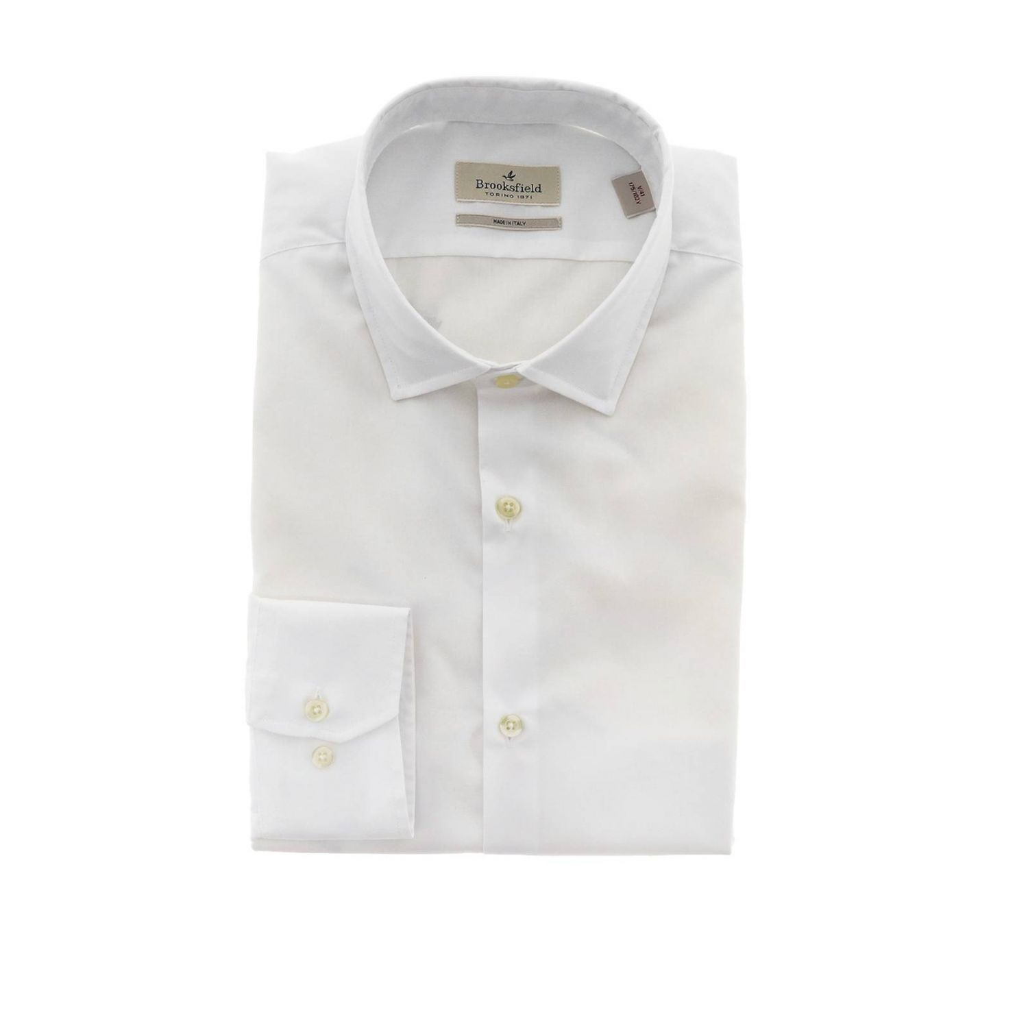 Camicia Brooksfield slim in popeline stretch bianco 1