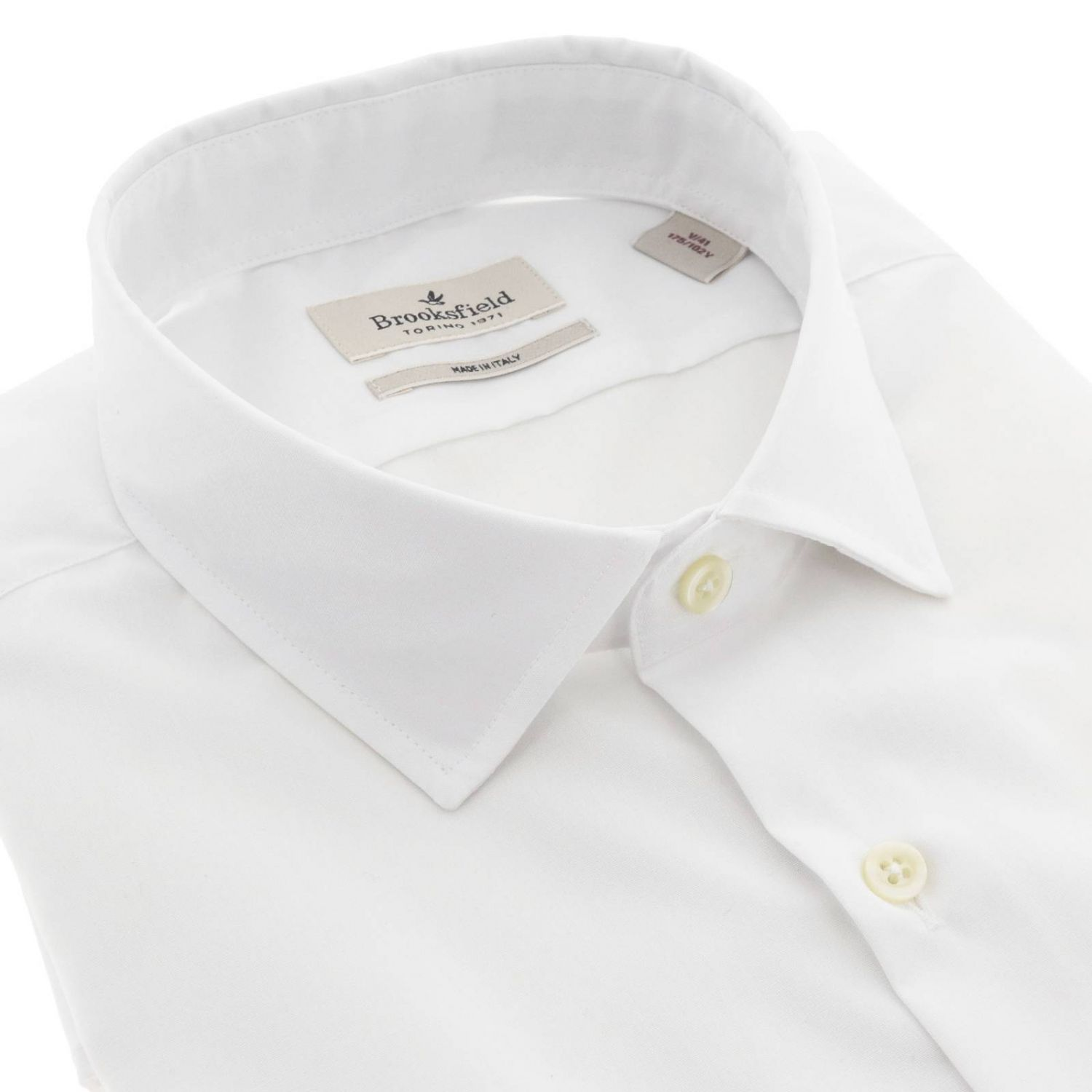 Camicia Brooksfield slim in popeline stretch bianco 2