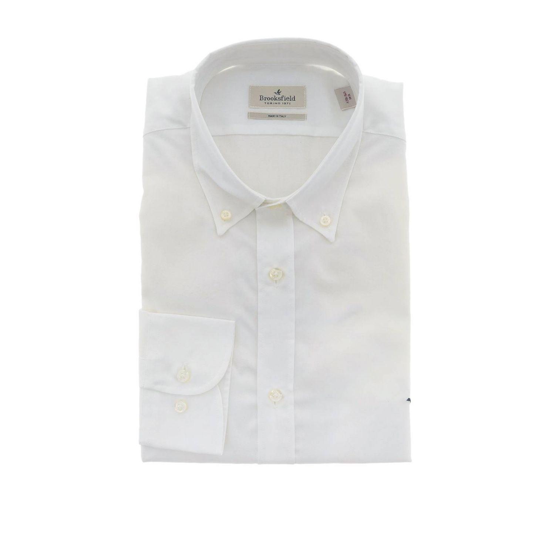 Camicia Brooksfield con collo button down slim in cotone oxford bianco 1