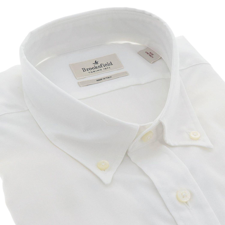 Camicia Brooksfield con collo button down slim in cotone oxford bianco 2
