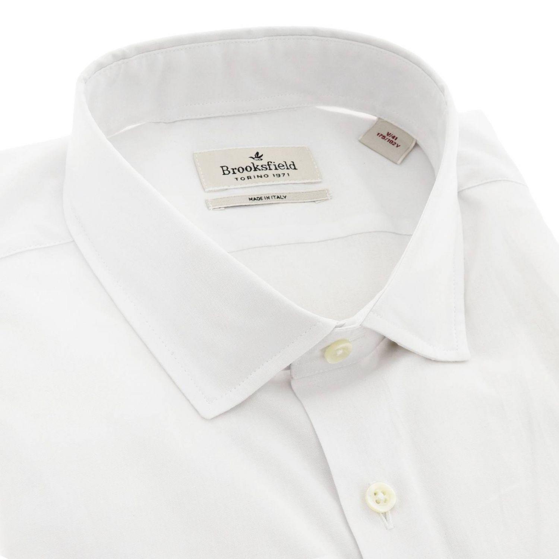Camicia Brooksfield con collo francese slim in popeline stretch bianco 2
