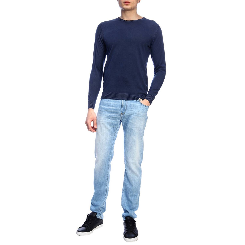 Maglia Brooksfield a maniche lunghe basic in cotone lavato blue 4