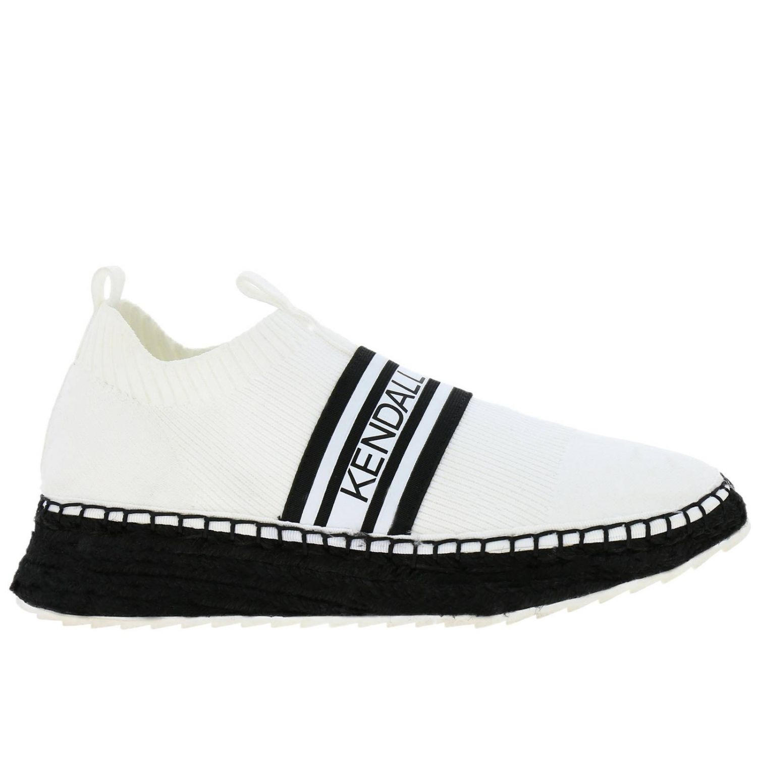 Sneakers KK Jake-B slip on a calza in tessuto stretch con maxi logo Kendall+Kylie bianco 1
