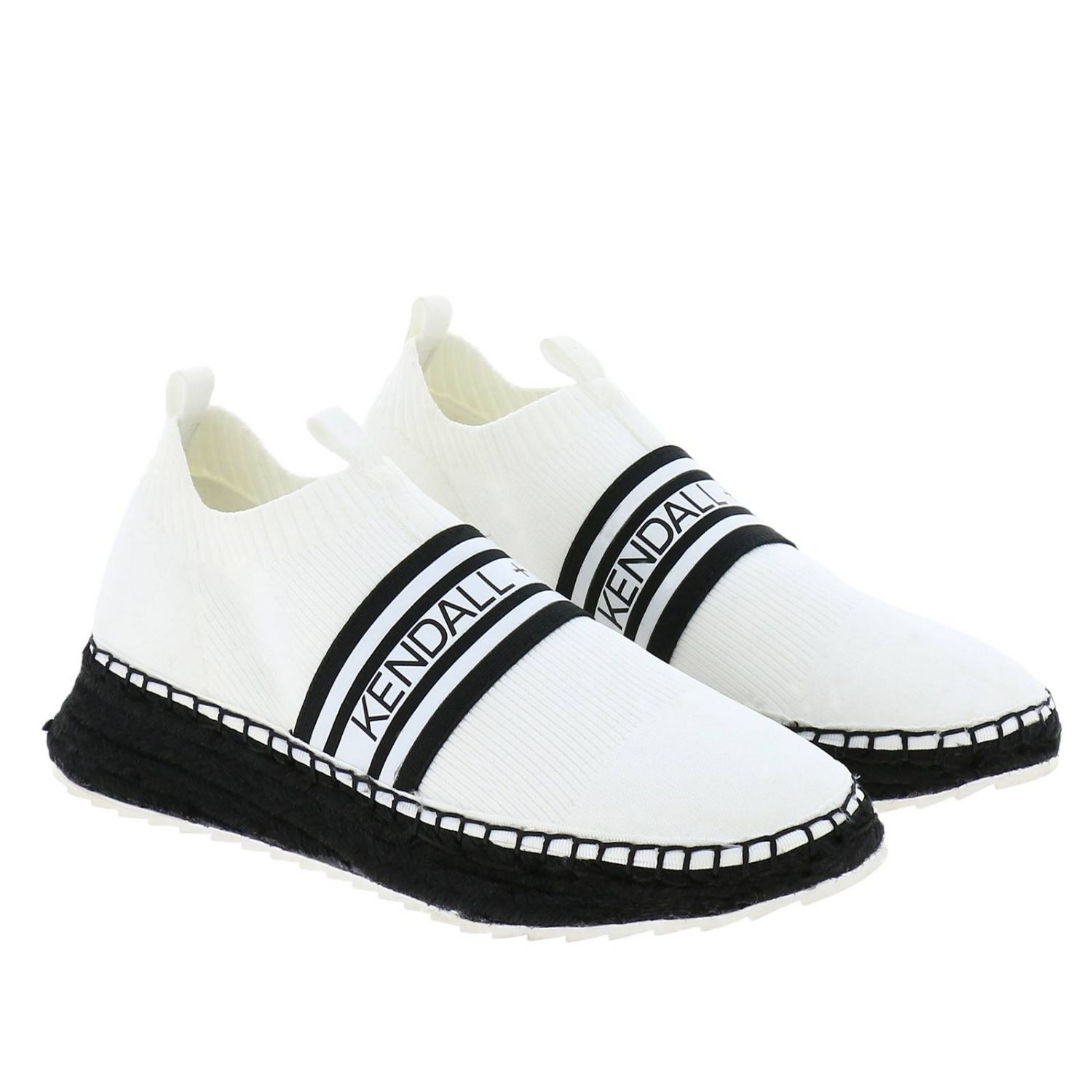 Sneakers KK Jake-B slip on a calza in tessuto stretch con maxi logo Kendall+Kylie bianco 2
