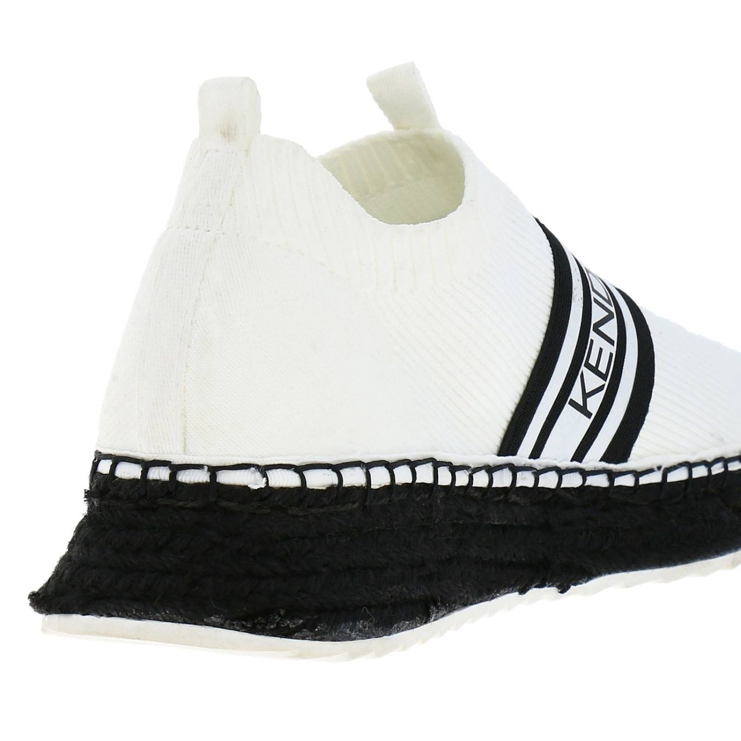 Sneakers KK Jake-B slip on a calza in tessuto stretch con maxi logo Kendall+Kylie bianco 4