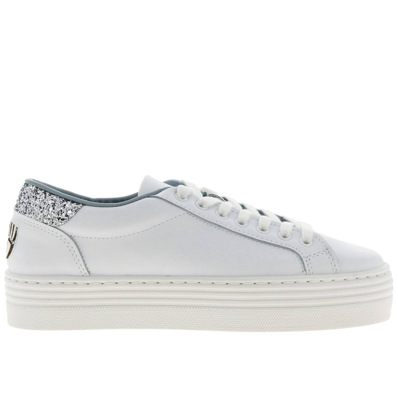 Sneakers Chiara Ferragni stringata in pelle con tallone glitter e maxi Eye Flirting bianco 1