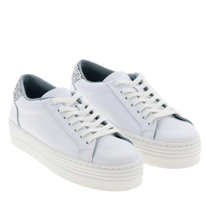 Sneakers Chiara Ferragni stringata in pelle con tallone glitter e maxi Eye Flirting bianco 2