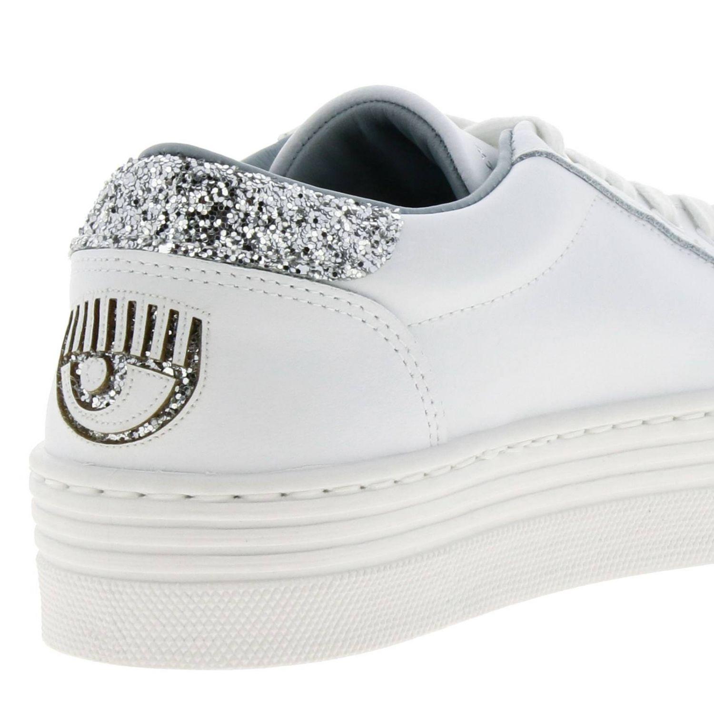 Sneakers Chiara Ferragni stringata in pelle con tallone glitter e maxi Eye Flirting bianco 4
