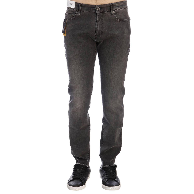 Jeans rock PT a vita bassa super skinny used stretch con tasche bull grigio 1