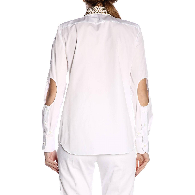 Popeline con collo borchie bianco 3
