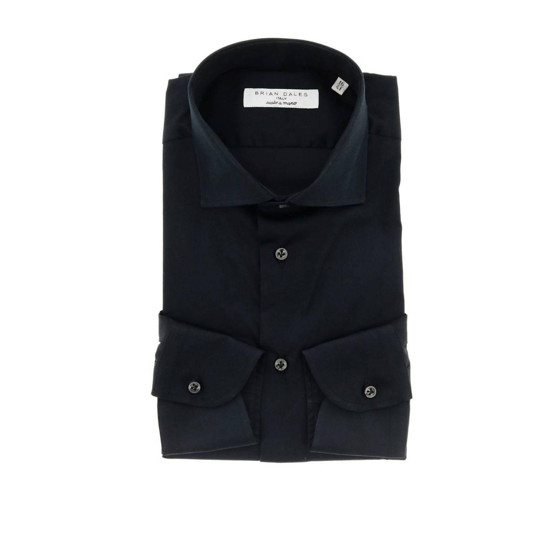 Camicia Brian Dales Camicie: Camicia Brian Dales Camicie classica Sartoriale in raso stretch con collo francese nero 1