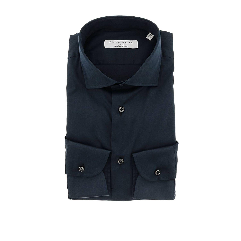 Camicia Brian Dales Camicie classica Sartoriale in raso stretch con collo francese blue 1