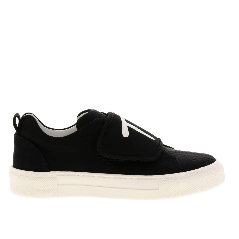 Sneakers slip on in neoprene con maxi fascia a strappo e logo Tod's nero 1
