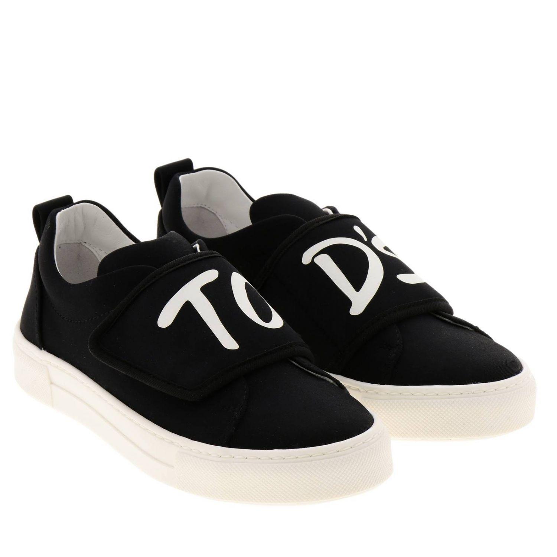 Sneakers slip on in neoprene con maxi fascia a strappo e logo Tod's nero 2