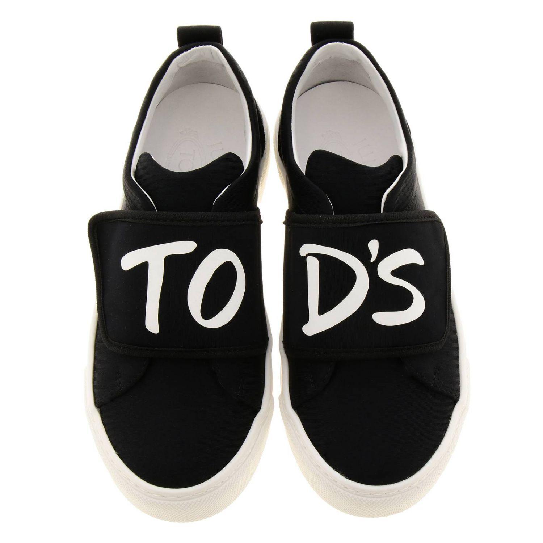Sneakers slip on in neoprene con maxi fascia a strappo e logo Tod's nero 3