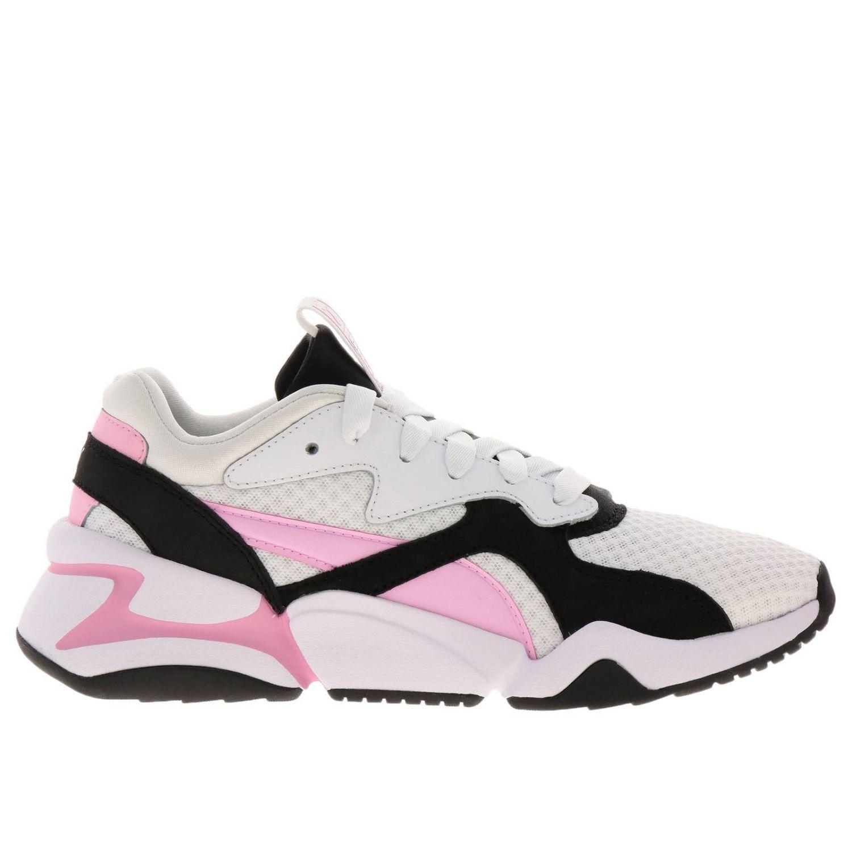 Sneakers Puma: Sneakers Nova 90's bloc Puma in pelle neoprene e gomma tricolor rosa 1