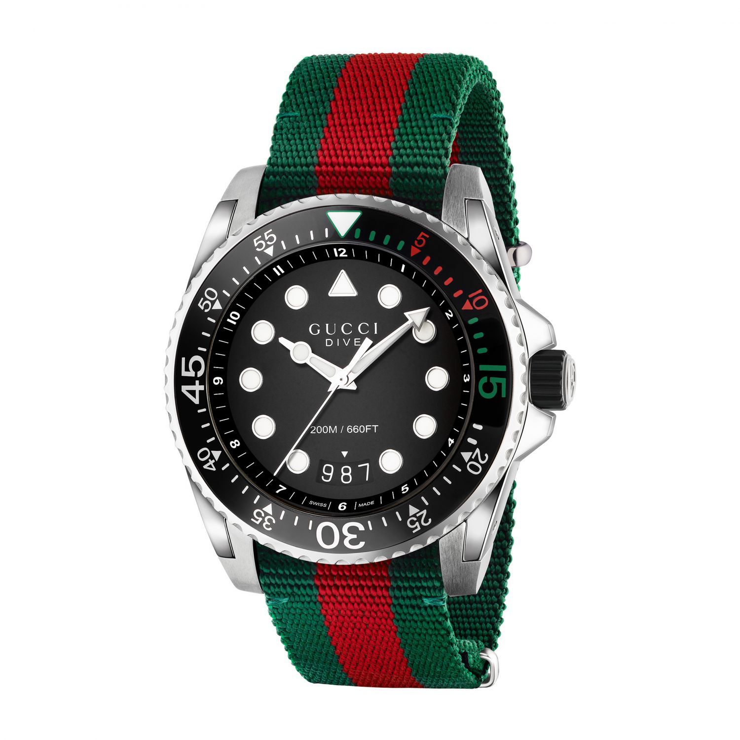 Watch Gucci: Watch with Gucci Web strap and sporty case black 1