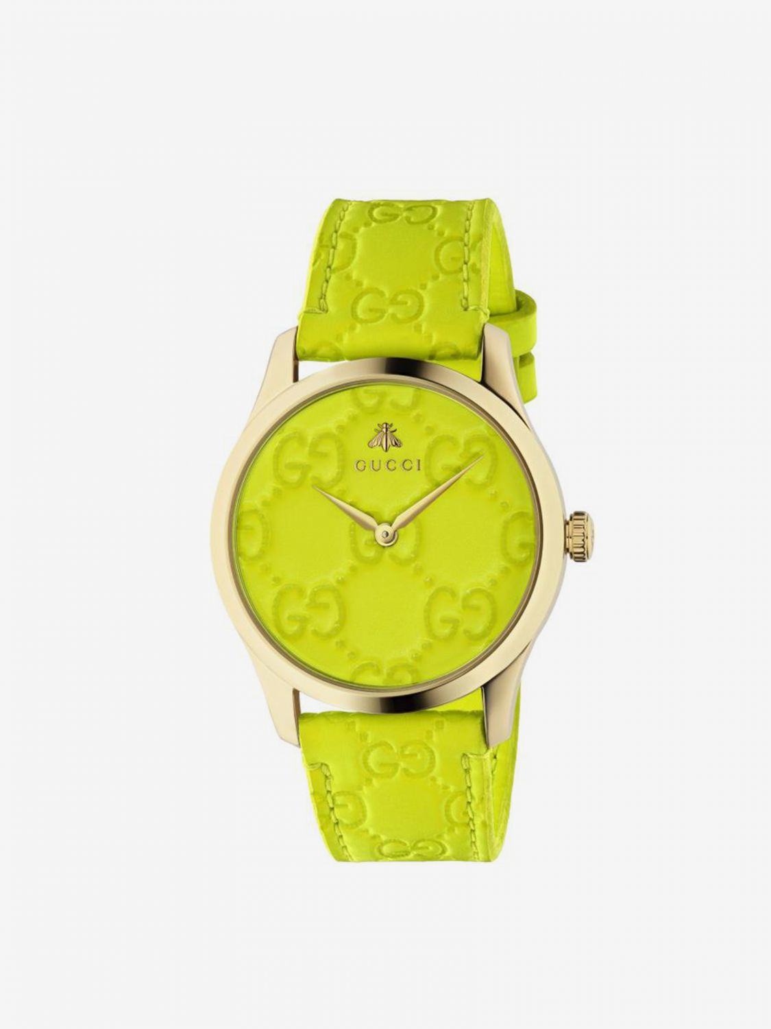 Watch Gucci: GG watch with Gucci strap and metal case yellow 1