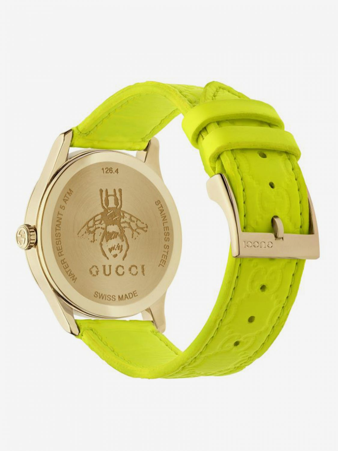 Watch Gucci: GG watch with Gucci strap and metal case yellow 2