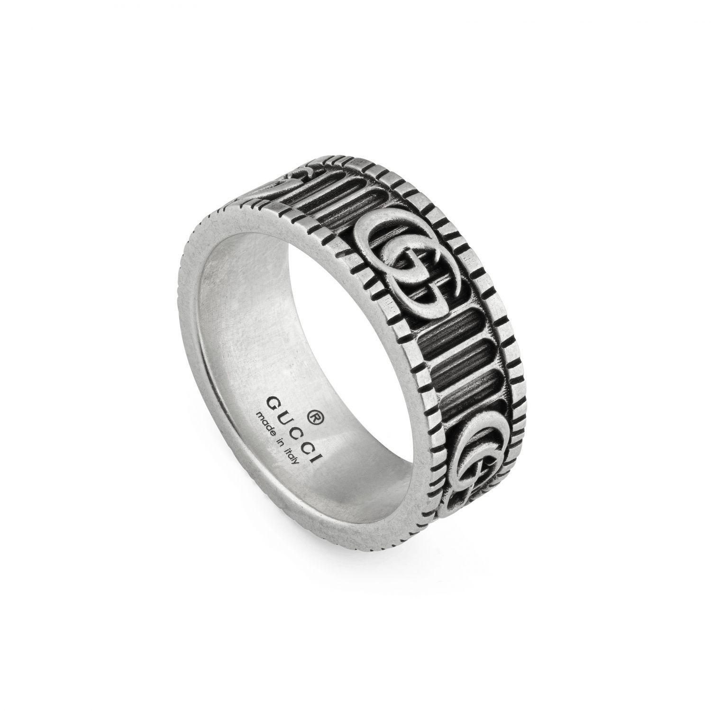Anello Monogramma GG Gucci in metallo a micro righe argento 1