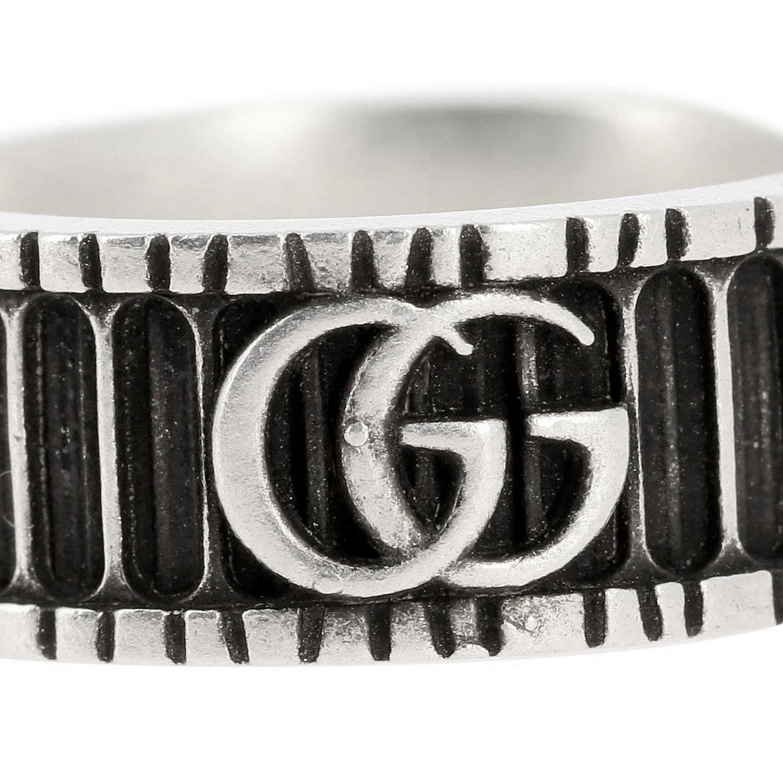 Anello Monogramma GG Gucci in metallo a micro righe argento 2