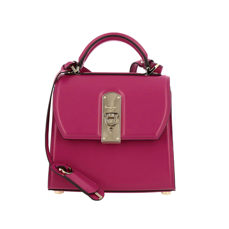 Boxyz kleine Salvatore Ferragamo Tasche aus Glattleder mit Metallschloss fuchsia 1