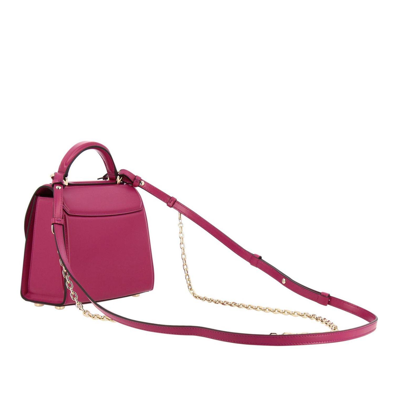 Boxyz kleine Salvatore Ferragamo Tasche aus Glattleder mit Metallschloss fuchsia 3